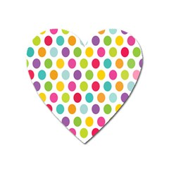 Polka Dot Yellow Green Blue Pink Purple Red Rainbow Color Heart Magnet by Mariart