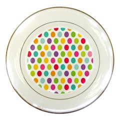 Polka Dot Yellow Green Blue Pink Purple Red Rainbow Color Porcelain Plates by Mariart