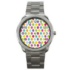 Polka Dot Yellow Green Blue Pink Purple Red Rainbow Color Sport Metal Watch by Mariart