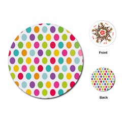 Polka Dot Yellow Green Blue Pink Purple Red Rainbow Color Playing Cards (round)  by Mariart