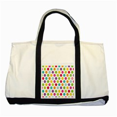 Polka Dot Yellow Green Blue Pink Purple Red Rainbow Color Two Tone Tote Bag by Mariart