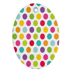 Polka Dot Yellow Green Blue Pink Purple Red Rainbow Color Oval Ornament (two Sides) by Mariart