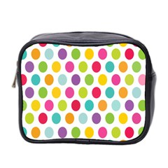 Polka Dot Yellow Green Blue Pink Purple Red Rainbow Color Mini Toiletries Bag 2 Side by Mariart