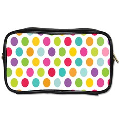 Polka Dot Yellow Green Blue Pink Purple Red Rainbow Color Toiletries Bags 2 Side by Mariart