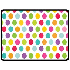 Polka Dot Yellow Green Blue Pink Purple Red Rainbow Color Fleece Blanket (large)  by Mariart