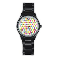 Polka Dot Yellow Green Blue Pink Purple Red Rainbow Color Stainless Steel Round Watch by Mariart