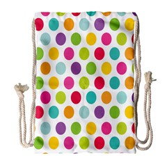 Polka Dot Yellow Green Blue Pink Purple Red Rainbow Color Drawstring Bag (large) by Mariart