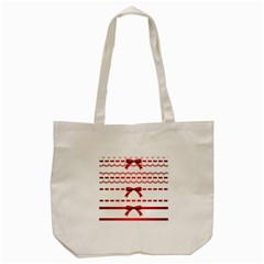 Ribbon Red Line Tote Bag (cream) by Mariart