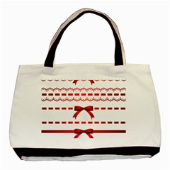 Ribbon Red Line Basic Tote Bag by Mariart
