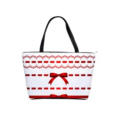 Ribbon Red Line Shoulder Handbags by Mariart