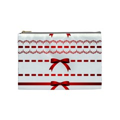 Ribbon Red Line Cosmetic Bag (medium)  by Mariart