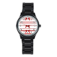 Ribbon Red Line Stainless Steel Round Watch by Mariart