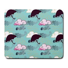 Rain Clouds Umbrella Blue Sky Pink Large Mousepads by Mariart