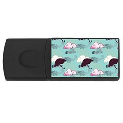 Rain Clouds Umbrella Blue Sky Pink Usb Flash Drive Rectangular (4 Gb) by Mariart