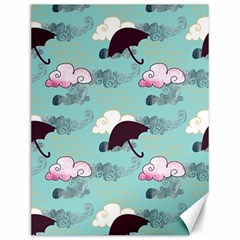 Rain Clouds Umbrella Blue Sky Pink Canvas 12  X 16   by Mariart