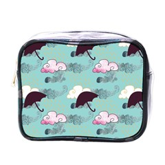 Rain Clouds Umbrella Blue Sky Pink Mini Toiletries Bags by Mariart