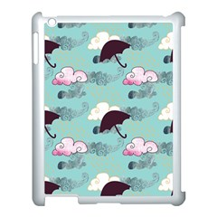 Rain Clouds Umbrella Blue Sky Pink Apple Ipad 3/4 Case (white) by Mariart