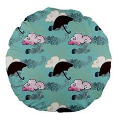 Rain Clouds Umbrella Blue Sky Pink Large 18  Premium Round Cushions by Mariart