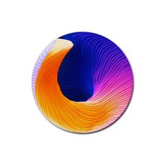 Wave Waves Chefron Color Blue Pink Orange White Red Purple Rubber Round Coaster (4 Pack)  by Mariart