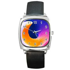 Wave Waves Chefron Color Blue Pink Orange White Red Purple Square Metal Watch by Mariart