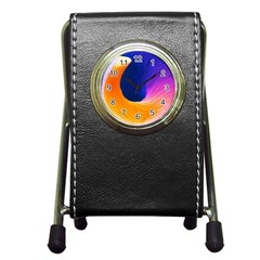Wave Waves Chefron Color Blue Pink Orange White Red Purple Pen Holder Desk Clocks by Mariart