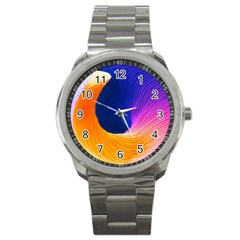 Wave Waves Chefron Color Blue Pink Orange White Red Purple Sport Metal Watch by Mariart