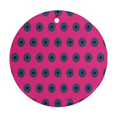 Polka Dot Circle Pink Purple Green Round Ornament (two Sides) by Mariart