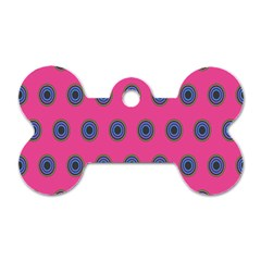 Polka Dot Circle Pink Purple Green Dog Tag Bone (one Side) by Mariart