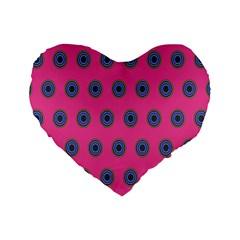 Polka Dot Circle Pink Purple Green Standard 16  Premium Heart Shape Cushions by Mariart