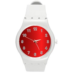 Red Gradient Fractal Backgroun Round Plastic Sport Watch (m) by Simbadda