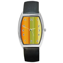 Colorful Citrus Colors Striped Background Wallpaper Barrel Style Metal Watch by Simbadda