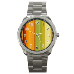 Colorful Citrus Colors Striped Background Wallpaper Sport Metal Watch by Simbadda