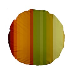 Colorful Citrus Colors Striped Background Wallpaper Standard 15  Premium Round Cushions by Simbadda