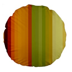 Colorful Citrus Colors Striped Background Wallpaper Large 18  Premium Round Cushions by Simbadda