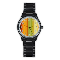 Colorful Citrus Colors Striped Background Wallpaper Stainless Steel Round Watch by Simbadda