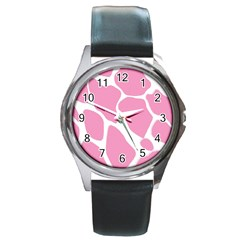 Baby Pink Girl Pattern Colorful Background Round Metal Watch