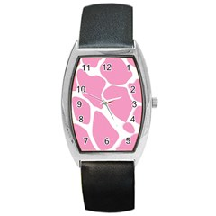 Baby Pink Girl Pattern Colorful Background Barrel Style Metal Watch by Simbadda