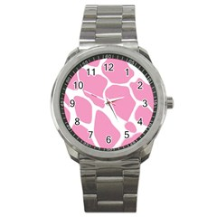 Baby Pink Girl Pattern Colorful Background Sport Metal Watch by Simbadda