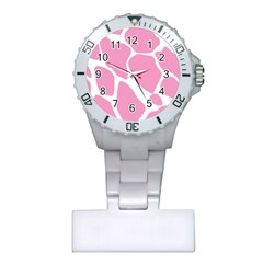 Baby Pink Girl Pattern Colorful Background Plastic Nurses Watch by Simbadda