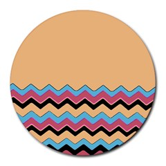 Chevrons Patterns Colorful Stripes Background Art Digital Round Mousepads by Simbadda