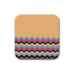 Chevrons Patterns Colorful Stripes Background Art Digital Rubber Square Coaster (4 Pack)  by Simbadda