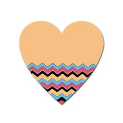 Chevrons Patterns Colorful Stripes Background Art Digital Heart Magnet by Simbadda