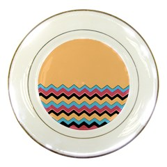 Chevrons Patterns Colorful Stripes Background Art Digital Porcelain Plates by Simbadda