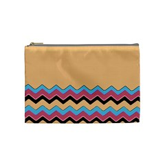 Chevrons Patterns Colorful Stripes Background Art Digital Cosmetic Bag (medium)  by Simbadda