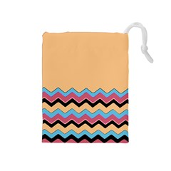 Chevrons Patterns Colorful Stripes Background Art Digital Drawstring Pouches (medium)  by Simbadda