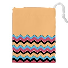 Chevrons Patterns Colorful Stripes Background Art Digital Drawstring Pouches (xxl) by Simbadda