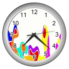 Simple Abstract With Copyspace Wall Clocks (silver)  by Simbadda