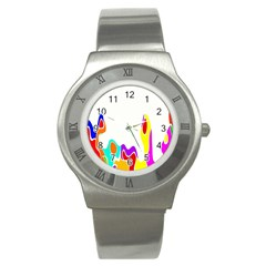 Simple Abstract With Copyspace Stainless Steel Watch by Simbadda
