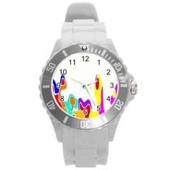 Simple Abstract With Copyspace Round Plastic Sport Watch (l) by Simbadda