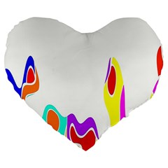 Simple Abstract With Copyspace Large 19  Premium Flano Heart Shape Cushions by Simbadda